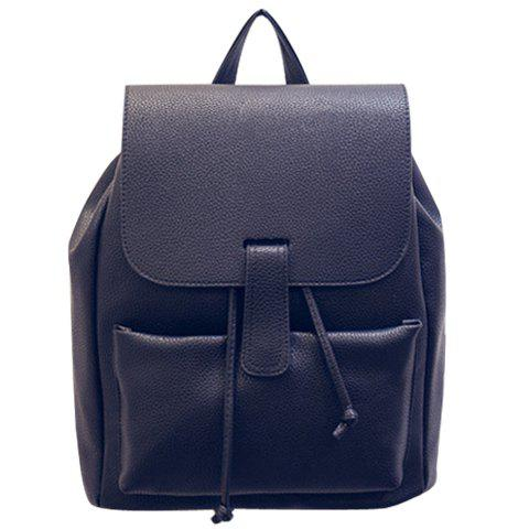 Fashionable PU Leather and Solid Colour Design Women's Backpack - BLACK
