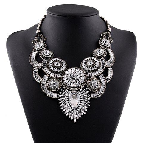 Noble Exaggerated Faux Gem Floral Necklace For Women
