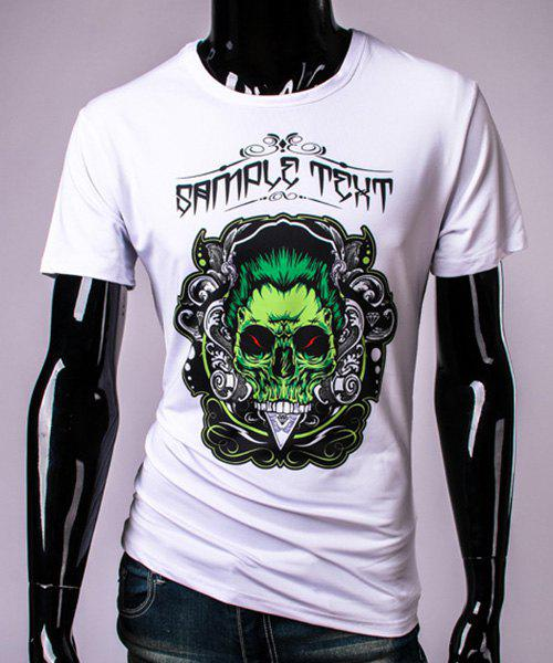 3D Ghost Skull Print Round Neck Short Sleeve Mens T-ShirtMen<br><br><br>Size: XL<br>Color: WHITE