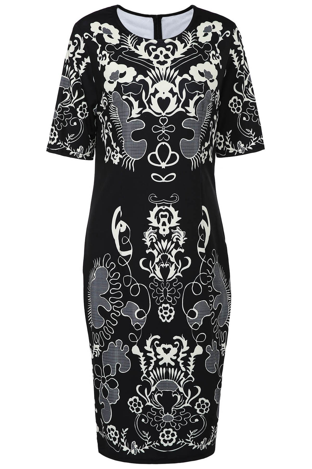 Retro Style Round Neck Short Sleeve Printed Sheathy Women's Prom Dress - WHITE/BLACK M