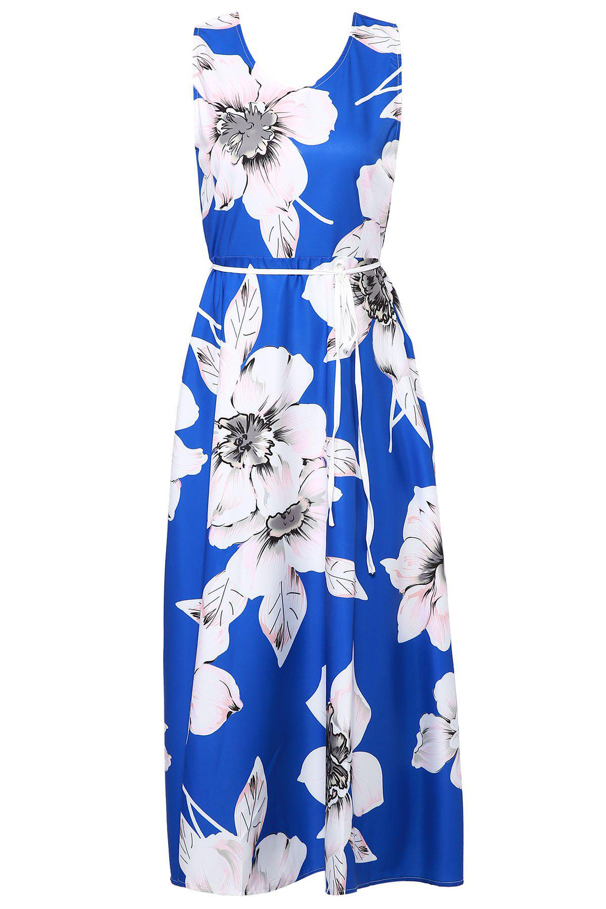 Elegant Women's V-Neck Sleeveless Floral Print Maxi Dress - BLUE L