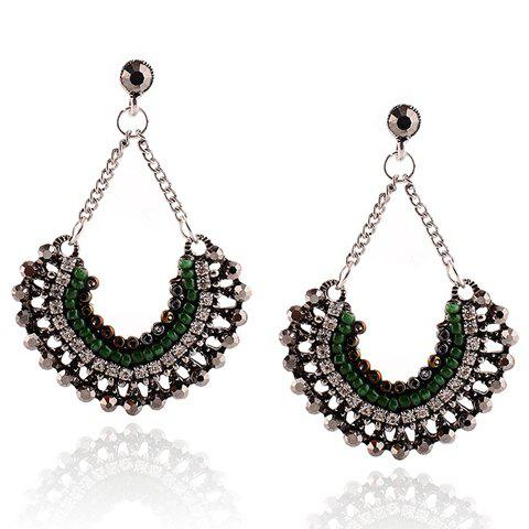 Pair of Charming Rhinestone Beads Fan-Shaped Earrings For Women - SILVER