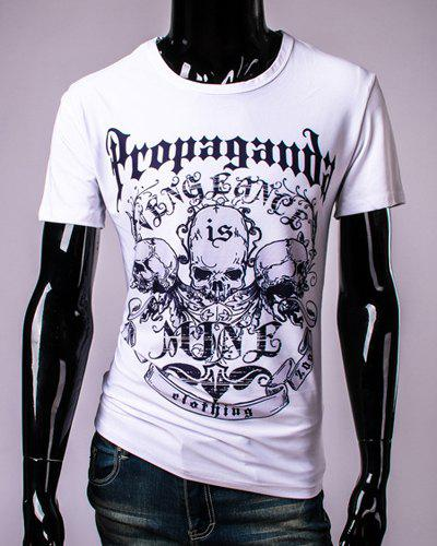 3D Letters and Skulls Print Round Neck Short Sleeve Men's T-Shirt - WHITE M