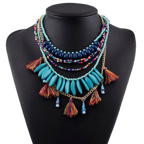 Trendy Multilayered Tassels Beads Sweater Chain For Women - COLORMIX