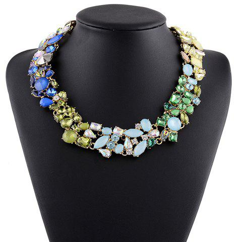 Stunning Alloy Faux Gem Water Drop Necklace For Women - GREEN