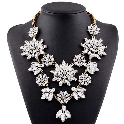 Stunning Faux Crystal Floral Hollow Out Necklace For Women - GOLD/WHITE