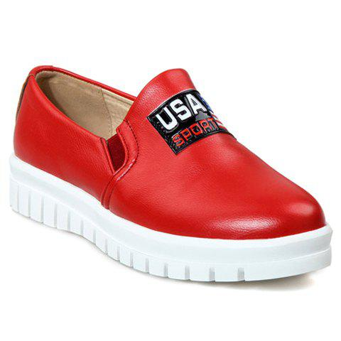 Trendy Slip-On and PU Leather Design Flat Shoes For Women - RED 36