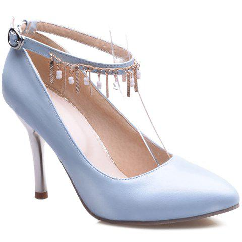 Graceful Ankle Strap and Pendant Design Women's Pumps - LIGHT BLUE 37