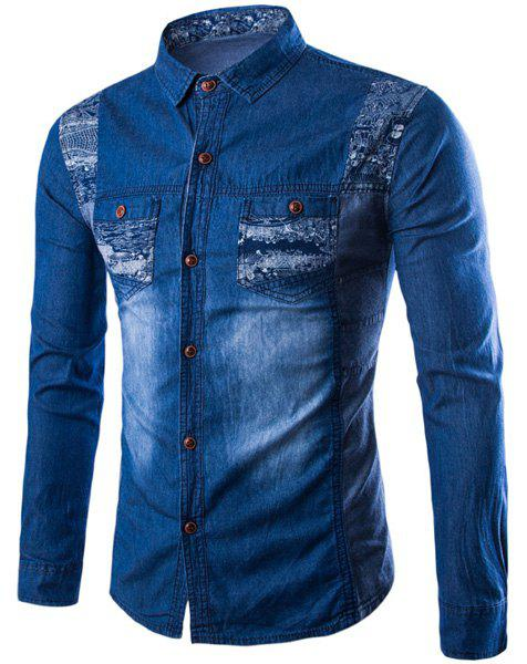 Turn-Down Collar Printed Long Sleeve Men's Denim Shirt - DEEP BLUE L