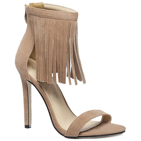 3c0ec74c48f 17% OFF  2019 Suede Lace Up Fringe Sandals In APRICOT 40