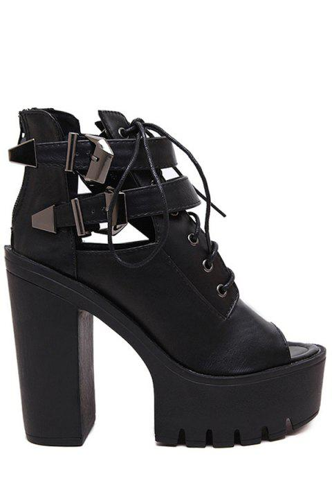 4bc2a9af33f Trendy Chunky Heel and Lace-Up Design Peep Toe Shoes For Women - BLACK 37