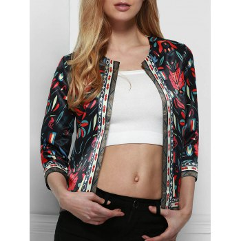 Vintahge Colorful Printed Jewel Neck 3/4 Sleeve Jacket For Women