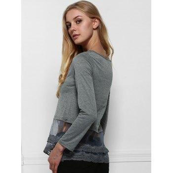 Stylish Scoop Neck Long Sleeve Solid Color Lace Spliced Hem T-Shirt For Women - DEEP GRAY S