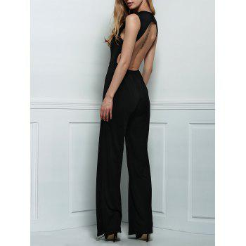 Plunging Neck Sleeveless Backless Black Jumpsuit