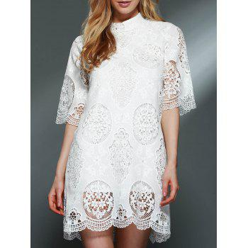 Elegant Stand-Up Collar 3/4 Sleeve Solid Color Women's Lace Dress