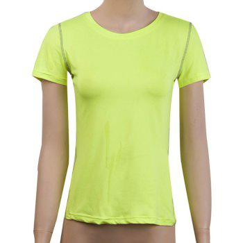 Simple Round Neck Short Sleeves Solid Color Women's T-Shirt - NEON GREEN M