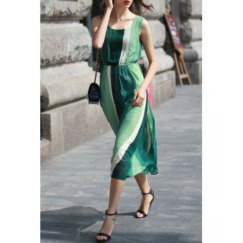 Bohemian Women's Scoop Neck Sleeveless Ombre Dress - GREEN GREEN