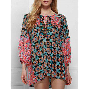 Ethnic Round Neck Long Sleeve Printed Lace-Up Women's Blouse