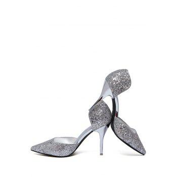 Party Sequins and Two-Piece Design Pumps For Women - SILVER 38