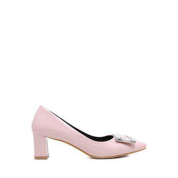 Stylish Square Buckle and Rhinestone Design Pumps For Women - PINK 39