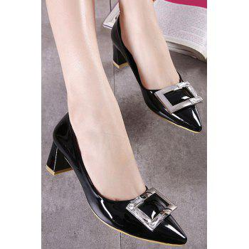 Stylish Square Buckle and Rhinestone Design Pumps For Women - 36 36