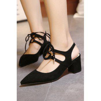 Stylish Slingback and Lace-Up Design Pumps For Women - 38 38