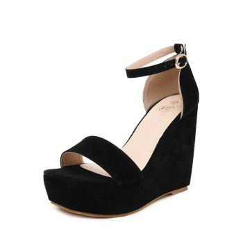 Trendy Wedge Heel and Black Design Sandals For Women - BLACK 39