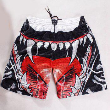 Straight Leg Drawstring Breathable 3D Oral Cavity Pattern Men's Board Shorts