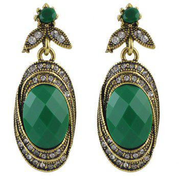 Pair of Rhinestone Leaf Oval Earrings - GREEN