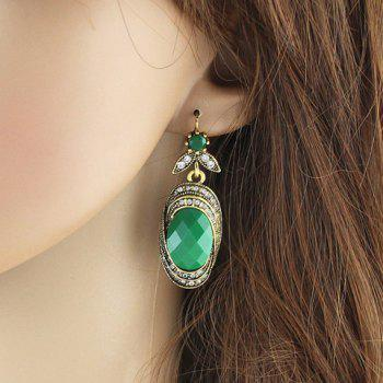 Pair of Rhinestone Leaf Oval Earrings