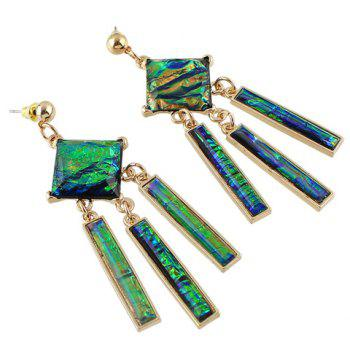 Pair of Geometric Faux Gem Earrings - GREEN