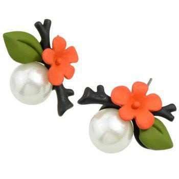 Pair of Flower Branch Leaf Faux Pearl Earrings - JACINTH