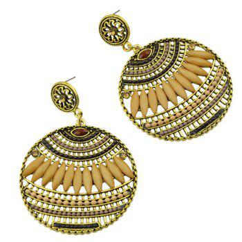 Pair of Floral Hollow Out Beads Drop Earrings - COFFEE