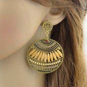 Pair of Floral Hollow Out Beads Drop Earrings