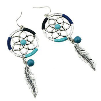 Pair of Floral Hollow Out Leaf Drop Earrings - SILVER