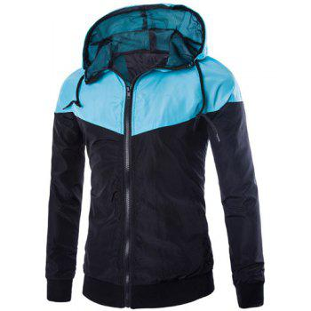 Slim Fit Zipper Color Block Hooded Jacket For Men