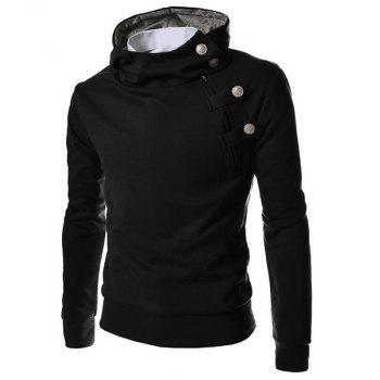 Casual Rabbit Fur Collar Pullover Half Zipper Solid Color Hoodie For Men