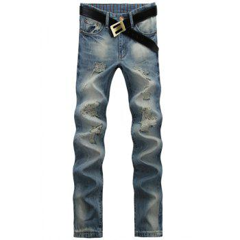 Casual Ripped Design Middle-rise Straight Legs Zip Fly Denim Pants For Men