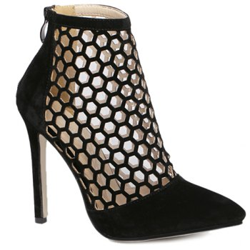 Fashion Hollow Out and Pointed Toe Design Pumps For Women - BLACK 37