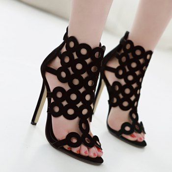 Fashion Hollow Out and Zipper Design Sandals For Women - BLACK 37