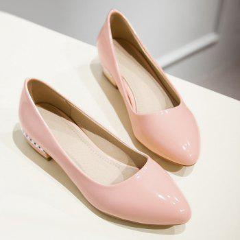 Simple Patent Leather and Pointed Toe Design Flat Shoes For Women - 38 38