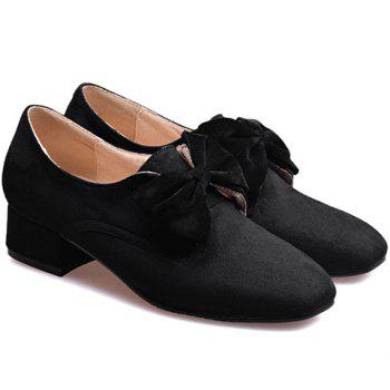 Graceful Bow and Flock Design Women's Flat Shoes - BLACK 39