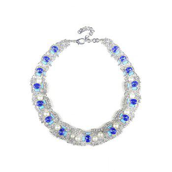 Elegant Faux Crystal Oval Necklace For Women
