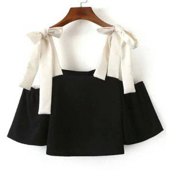 Sexy Women's Square Neck Color Block 3/4 Sleeve Blouse