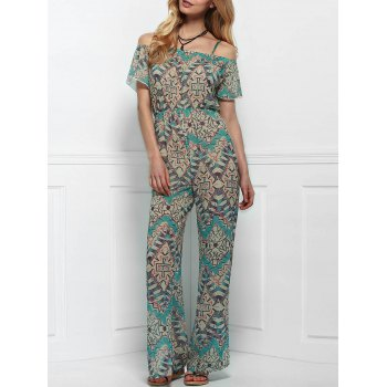 Vintage Short Sleeve Printed Backless Side Slit Wide-Leg Jumpsuit For Women