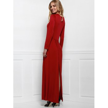 Élégant manches longues Criss-Cross Plongeant Neck Maxi Dress For Women - Rouge vineux L