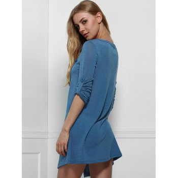 Graceful Cowl Neck Solid Color Slit Asymmetric Pullover Sweater For Women - BLUE ONE SIZE(FIT SIZE XS TO M)