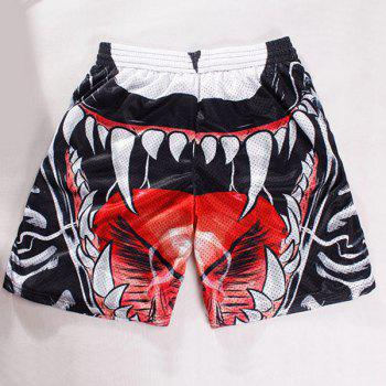 Straight Leg Drawstring Breathable 3D Oral Cavity Pattern Men's Board Shorts - L L