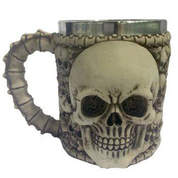 High Quality Horror Skull Drinkware 3D Knight Mug Stainless Steel Skull Decor Cup - BRONZE-COLORED BRONZE COLORED
