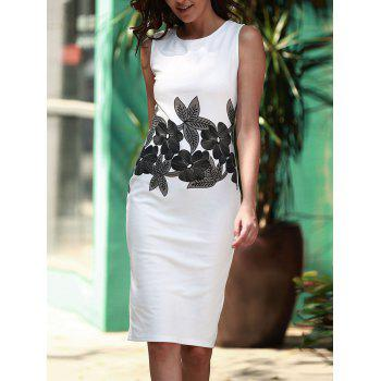 Brief Style Round Neck Sleeveless Floral Print Sheathy Women's Dress